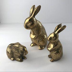 Vintage Brass Bunny Family Figurines